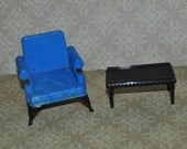 Vintage Dollhouse Ideal Living Room Chair and Coffee Table