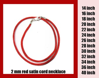 Choose the Length - Red Satin Necklace Cord with Silver Plated or Gold Plated Lobster Clasp, 14 inch to 40 inch, Ready to Ship