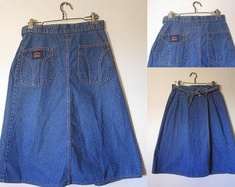 Vintage 60s Levi's Blue Denim A-Line Knee Length Wrap Skirt