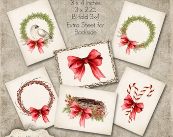 Printable - Christmas Gift Tags - Wreaths, Birds Nest, Twig & Berry Wreath, Watercolor - Three Sizes - 4.00