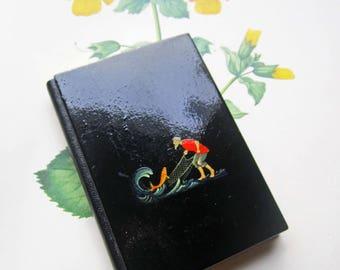 Vintage Russian Lacquer Address Book,  Russian Lacquer Fairy Tale Fisherman, Vintage Address Book, Travel Souvenir Russia