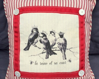 French Chickadees in Crown Pillow| French Country Decor | Farmhouse Decor | Linen Print, Red Ticking, blue rose floral | French Bird/Crown
