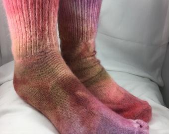 Angora socks, coral, caramel, fuchsia hand dyed for men or women, Crew length, Christmas gift