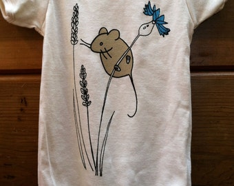 Mouse Baby One Piece, Organic Cotton,Baby Bodysuit,Mouse, Cornflower, Cute Baby