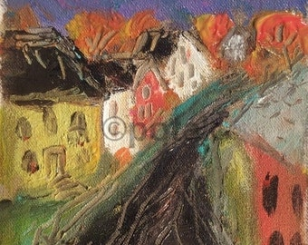Street scene, Small matted original acrylic painting, hand made, art and collectible, nostalgic vintage like, expressionist acrylic