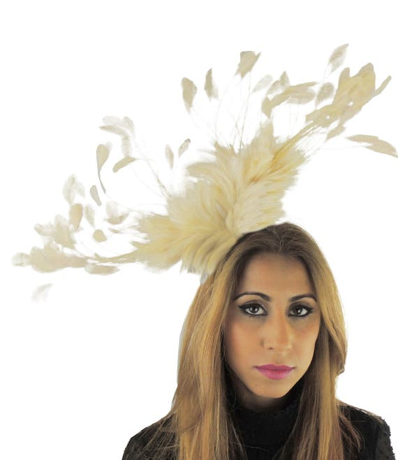 Cream Eagle Fascinator Hat for Weddings, Races, and Special Events With Headband