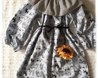 Pretty light blue/ gray dress with black dogs design, girls dress, long sleeved, peasant, classic, fall dress, sizes 1/2, 3/4, 5/6, fun