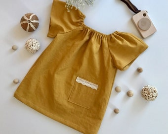 girls linen peasant dress Toddlers dress Baby linen dress Smock linen dress Honey linen dress Mustard dress Vintage linen dress Yellow dress