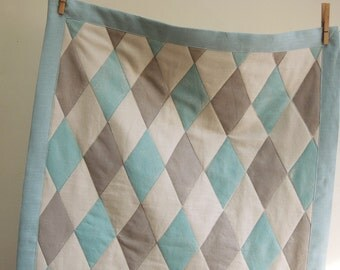 Pale aqua and taupe harlequin geometric small linen hand block printed modern home decor lap quilt