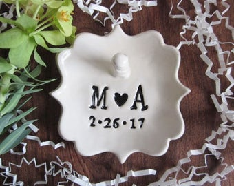 White wedding ring holder, Monogrammed engagement gift, his and hers, Ceramic ring holder, Custom ring dish gift