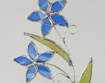 Forget me not Flowers - Upcycled Stained Glass Suncatcher