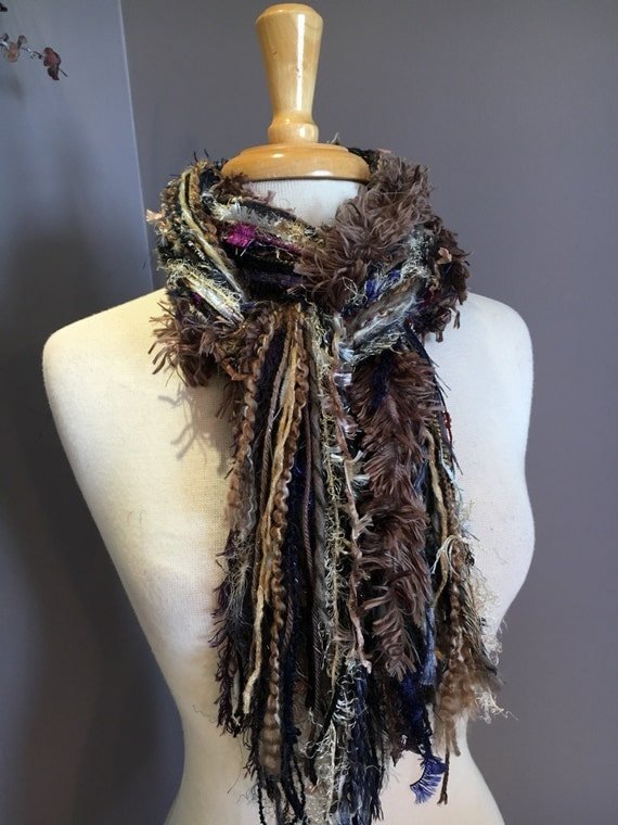 Fringie Scarf, Wonderland, Knotted handmade Scarf, Purple blue taupe black fringe scarf, boho fashion, accessories, funky scarves, eclectic