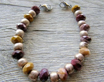 Mookite Jasper and Silver Bead Medical ID Bracelet, Maroon and Mustard Mookaite Alert Bracelet, Double Clasp Replacement Bracelet