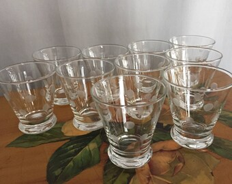 Polka Dot Glasses Set of 10 Vintage Glassware Small Cups Etched Dots