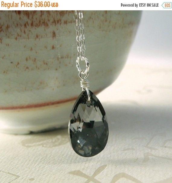 Black Crystal Necklace, Sterling Silver, Hematite Pendant, Teardrop Charcoal Swarovski, Bridesmaid Wedding Handmade Jewelry