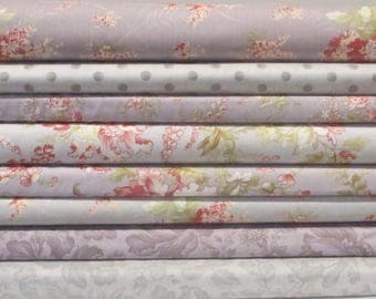 Heather Lavender Grey Whitewashed Cottage Half Yard Fabric Bundle - Moda - 3 Sisters