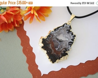 SALE Druzy Necklace Gold, Geode Necklace, Crystal Necklace, Gold Geode Slice Druzy,GG73