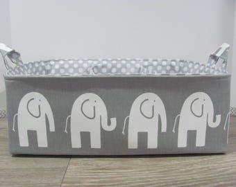 "XL Long - Fabric Storage Basket - 13""x11""x6"" - Storage Bin - Diaper Bag - Organizer Basket - Custom - Baby Gift - Nursery Decor - Elephants"
