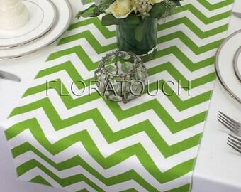 Green Chevron Table Runner Green and White Zigzag Wedding Table Runner