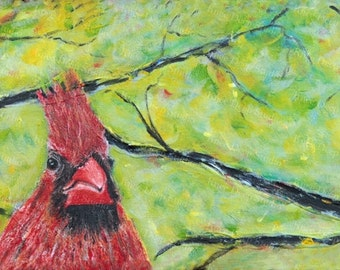 Cardinal Contemporary Painting Colorful Wall Decor 8x24 Acrylic on Canvas Two Birds in Spring Original Fine Art Songbirds Ready to Ship