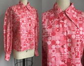 Vintage 1960s Fuchsia and Pink Op Art Mod Poet Sleeve Blouse Shirt Top Size  Medium