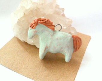 Rustic Green over Terra Cotta Clay Indian Pony Horse Bead