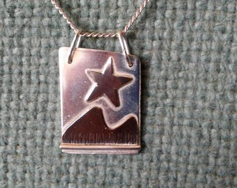 Mountain stars silver n copper pendant