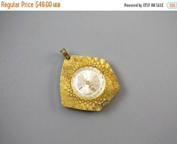 SPRING CLEANING SALE Vintage Lucerno Antimagnetic Swiss Made ladies pendant necklace watch textured asymmetrical