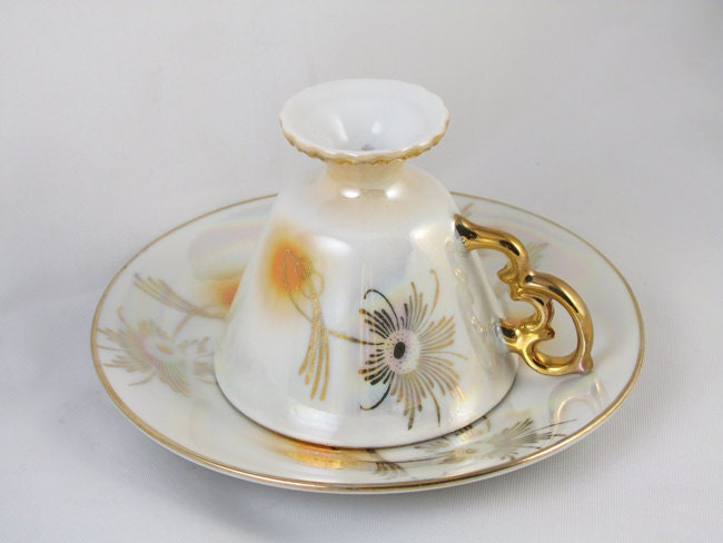 Vintage hand painted demitasse / lustre / luster / cup and saucer / porcelain / china / bone china / tea / coffee / lusterware