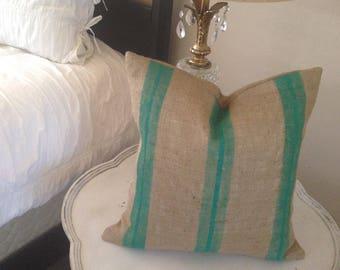 Burlap French Grainsack Green Stripe Pillow Cover   Farmhouse/Industrial/Loft/Lakehouse/Coastal/Nautical/Beach/Rustic
