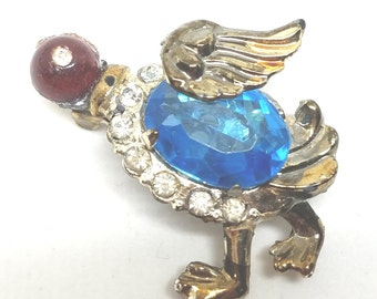Rhinestone Duck Goose with large blue stone body Vintage Pin