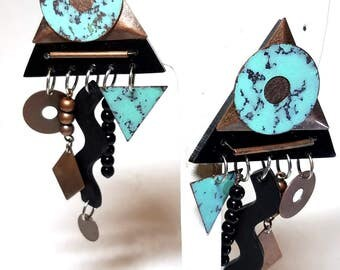 Abstract Dangle Hanging Earrings  Vintage Pierced Turquoise Color Black Brass