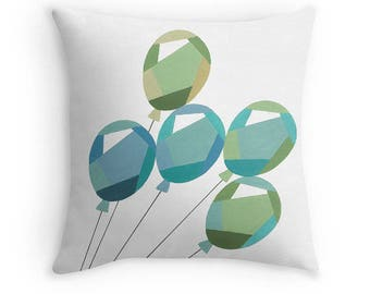 Contemporary Balloons Throw Pillow with Insert, Five Blue and Green Balloons, Block Art Print, 16 x 16 Inches, Nursery Childrens Decor