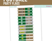 Football Printable, Football Happy Birthday, Party Flags Printable, Cupcake Topper, Instant Download, Superbowl Party, Football Party, NFL