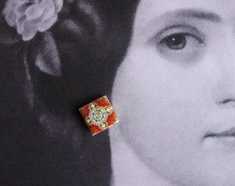 Portugal  Antique Tile Replica Post Stud Earrings from Válega  - Bordeaux - Abandoned Home (see photo) 598