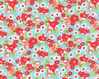 YEAR END SALE - 3 1/8 yard - Little Ruby -  Little Swoon in Aqua (55130-12) - Bonnie and Camille for Moda Fabrics