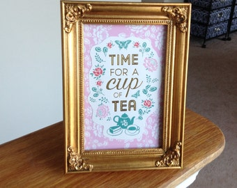 Handmade Framed Paper Art  Time For A Cup Of Tea
