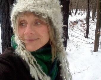 hand knit slouchy hat puffy natural curls soft art yarn rustic winter hat -  warm wandering hat