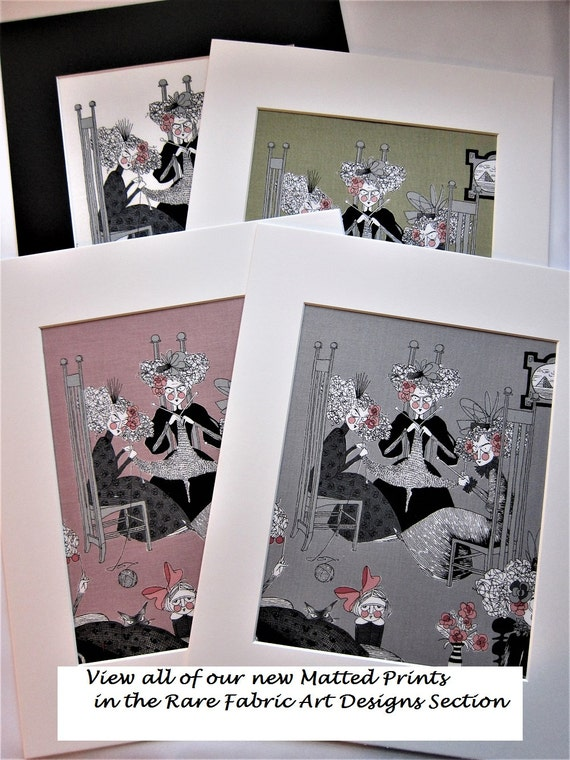 """RARE FABRIC ART Designs Mounted For Framing - Alexander Henry - A Ghastlie Night 2010 - 8""""x10"""" Matted Image  - Final Size with Board 11""""x14"""""""