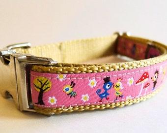 Pink Hedgehogs and Birds Dog Collar with Metal Buckles - Medium