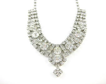 Vintage Sparkling Clear Rhinestone 14 Inch Necklace