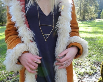 The EARTH Necklace from the ALCHEMY Collection // Hammered Gold & Quartz Crystal Necklace/ELEMENTS / Bohemian Style