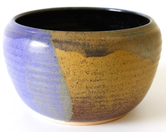 Stoneware Pottery Bowl. Large. Wood Fired. Cobalt Blue. White Gloss. Speckled Brown. Earth Tones. Tan. Taupe. Butterscotch. Black. OOAK