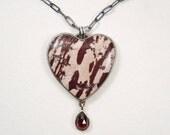 Red Falcon Jasper Heart necklace with Garnet Drop, Custom Order for Rebecca