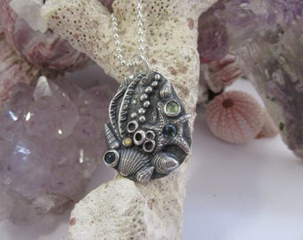 Beach Sea Shell Pendant Sapphires and Fine Silver with 925 Sterling Chain OOAK Gifts for Her by Leaping Frog Designs