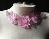 SALE Bubble Gum Pink Beaded Lace Applique for Lyrical Dance, Sashes, Headbands, Costumes CA 42bgp