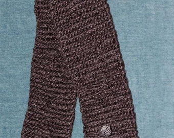 Women's Hand Knit Scarf. Plum Color Sparkles with Sequins