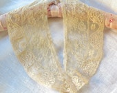 Antique Alencon Lace Collar in Dusty Golden Nude Cotton Tulle Lace