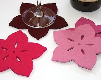 Botanical Tropical Flower Felt Drink Coasters Beach House Decor Pretty Colorful Coaster Set Housewarming Hostess Gift for her Blush Pink