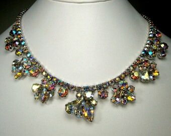 Oh La la Rainbow Rhinestone Linked CHOKER Necklace, Aurora Borealis Crystal Flowers, SPARKLES Galore,  Pretty, Glam, Adjustable